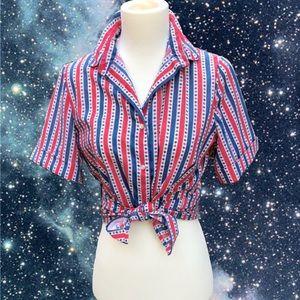 ⚓︎VTG⚓︎ Flowers & Stripes Nautical Blouse (S)